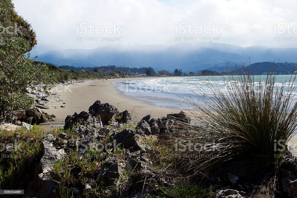 Pohara Beachscape, Golden Bay, New Zealand stock photo
