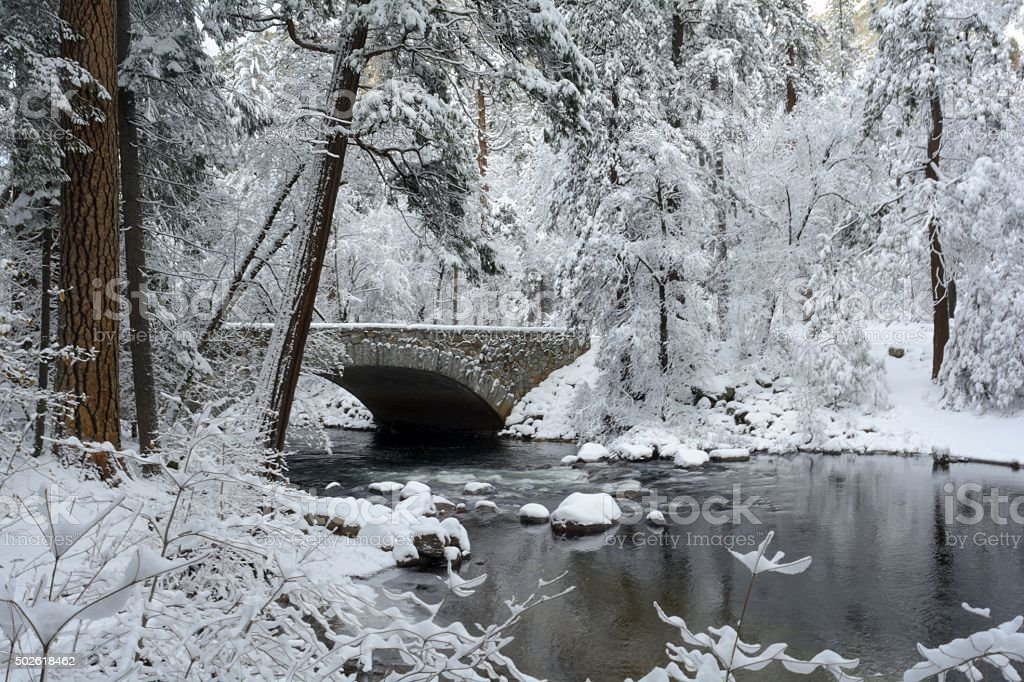 Pohono Bridge in Yosemite National Park stock photo