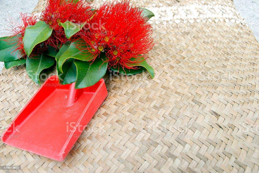 Pohutakawa and Kete, New Zealand Summer or Christmas Background stock photo