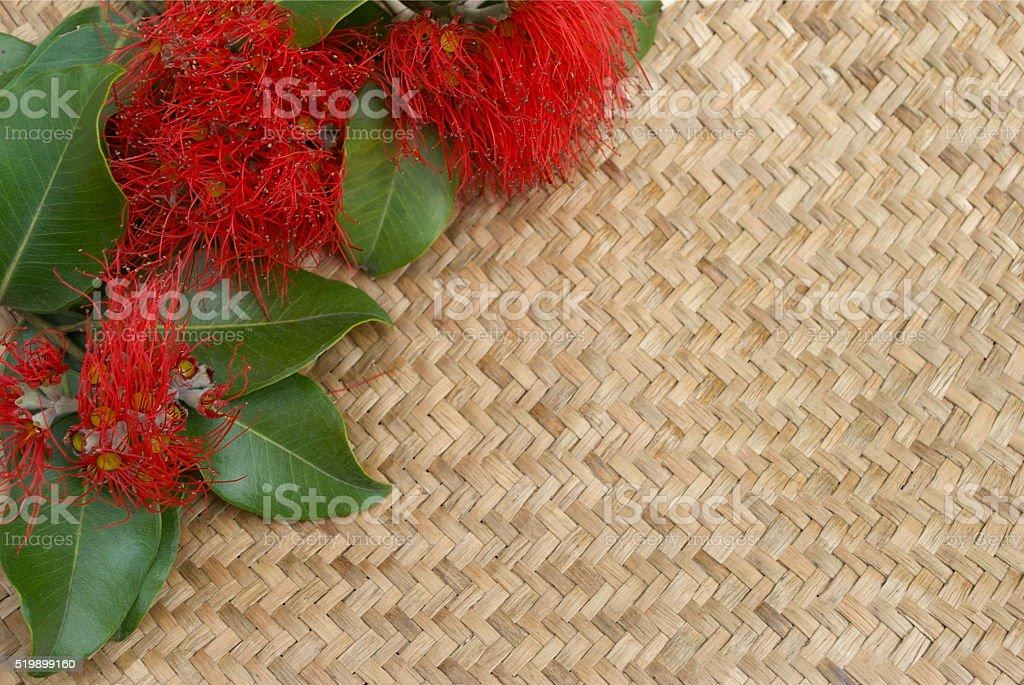 Pohutakawa & Kete, New Zealand Summer or Christmas stock photo