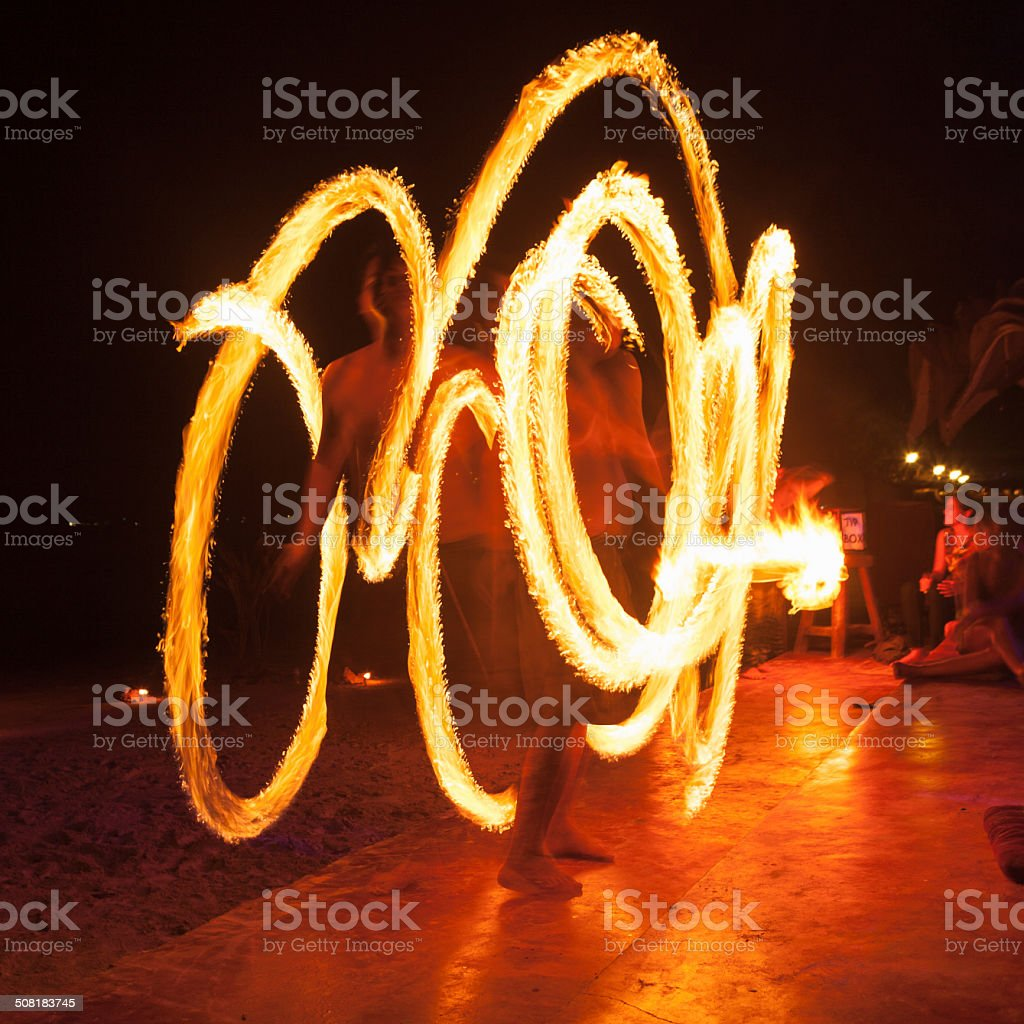 Poi - Fire Dancing in Thailand stock photo