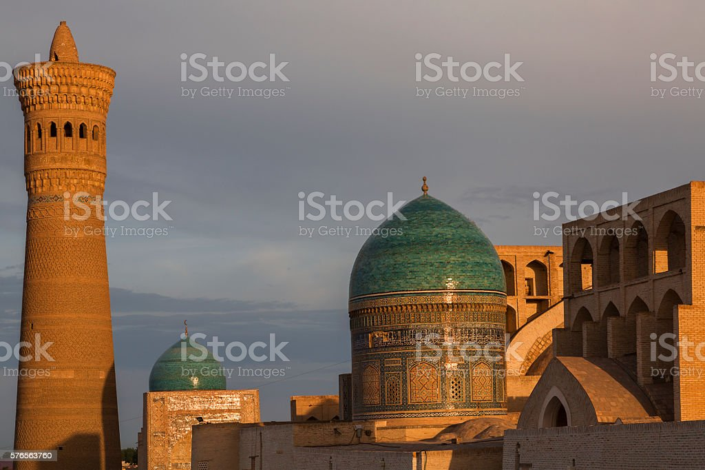 Poi Kalon mosque and minaret in Bukhara, Uzbekistan. stock photo
