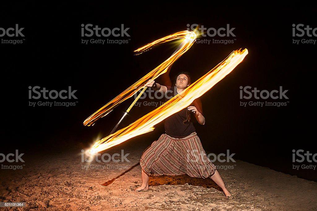 Poi performer stock photo