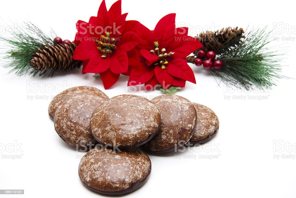 Poinsettia with gingerbread royalty-free stock photo