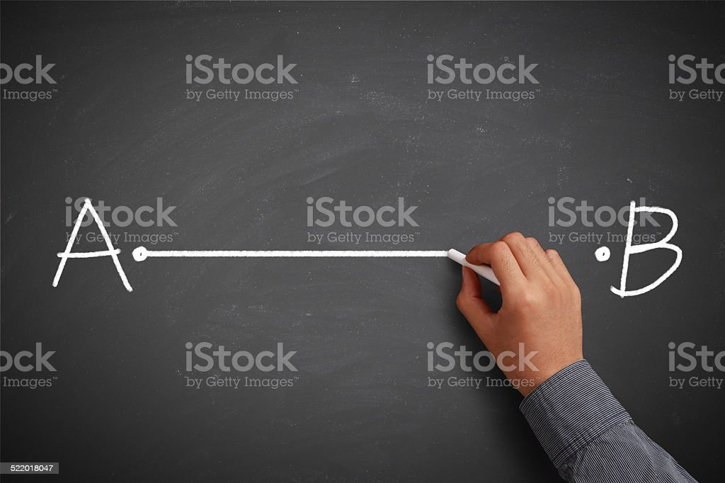 Point A to Point B with Stratight Line stock photo