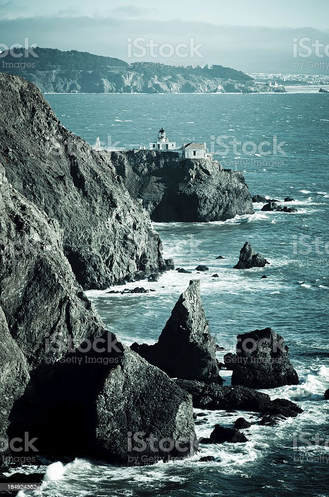Point Bonita Lighthouse overlooking the Pacific Ocean stock photo