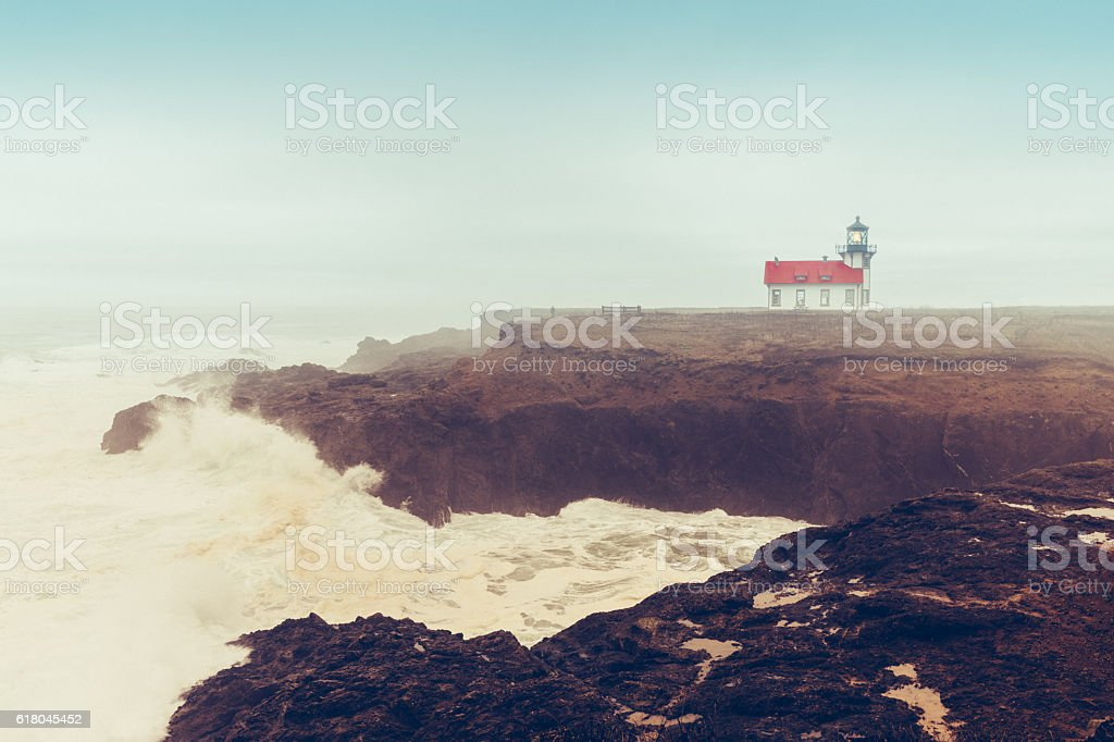Point Cabrillo Lighthouse in storm, California stock photo