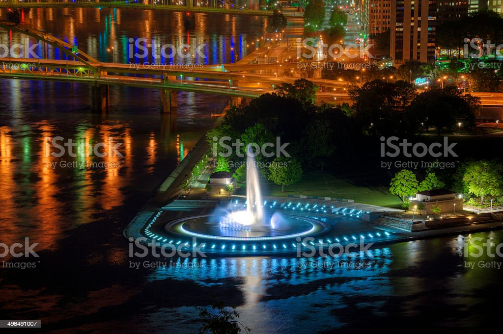 Point Fountain, Pittsburgh stock photo