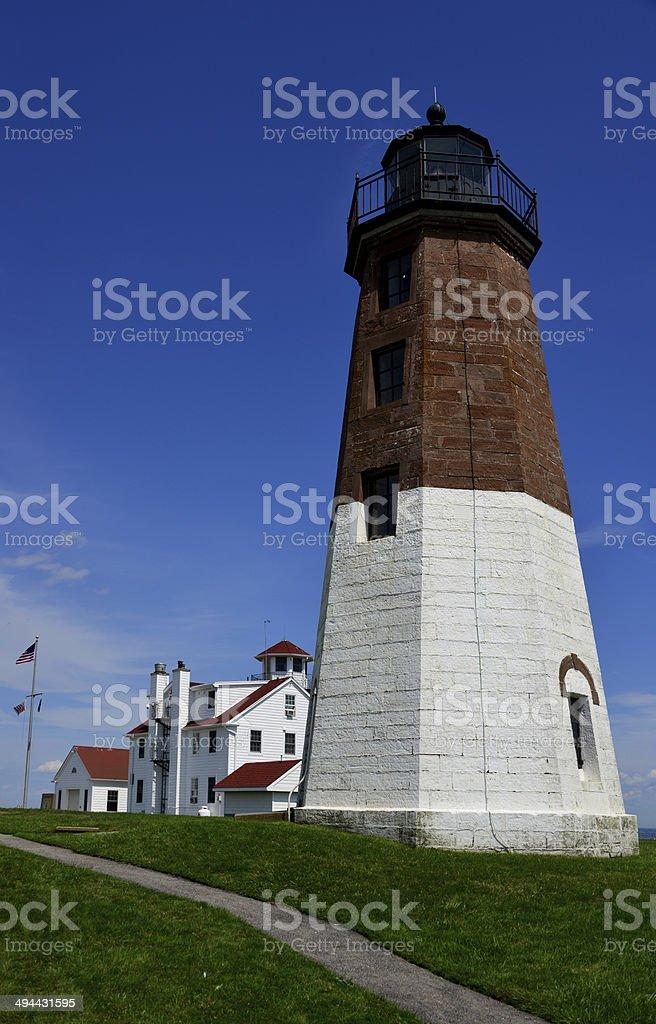 Point Judith Lighthouse and Coast Guard Station, Narragansett, RI, USA stock photo