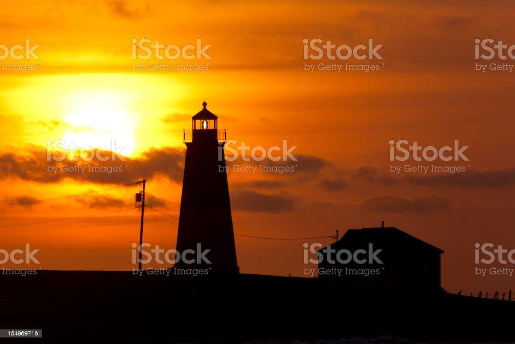 Point Judith Lighthouse sunrise stock photo