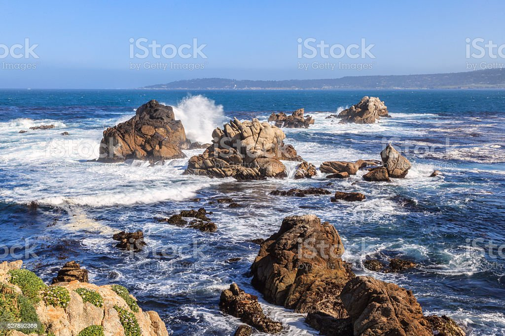 Point Lobos rocks and waves stock photo