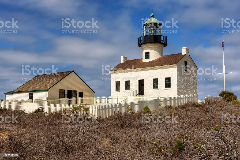 Point Loma Lighthouse at Cabrillo National Monument in San Diego stock photo