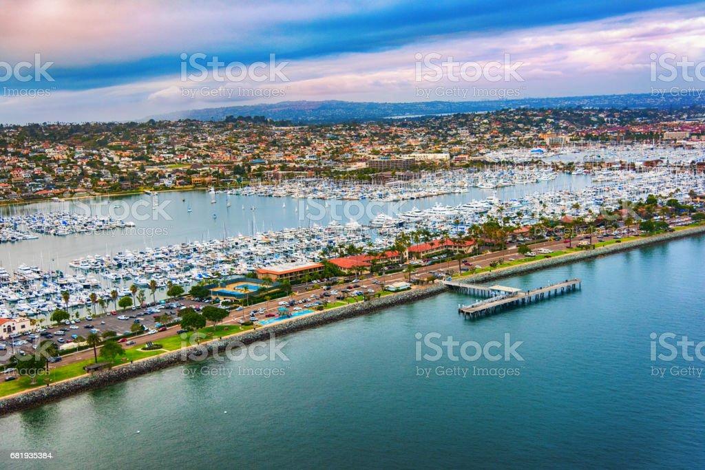 Point Loma San Diego Marina Aerial stock photo