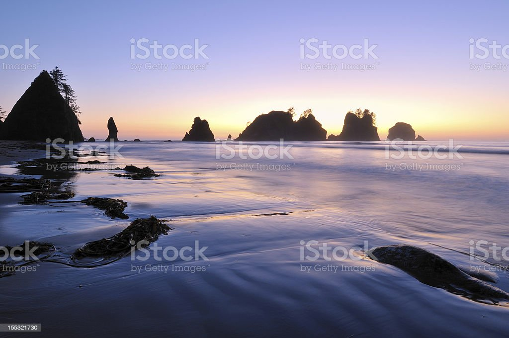 Point of Arches, Shi-Shi Beach sunset stock photo