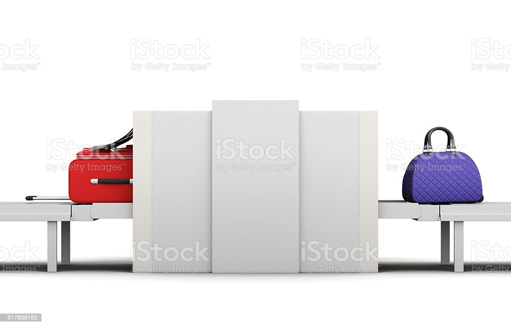 Point of checking the luggage scanner. Baggage check-in. 3d rend stock photo