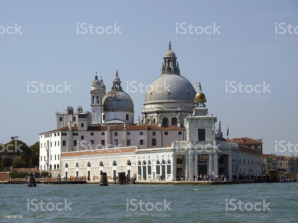 Punta della Dogana and Salute in Venice. stock photo
