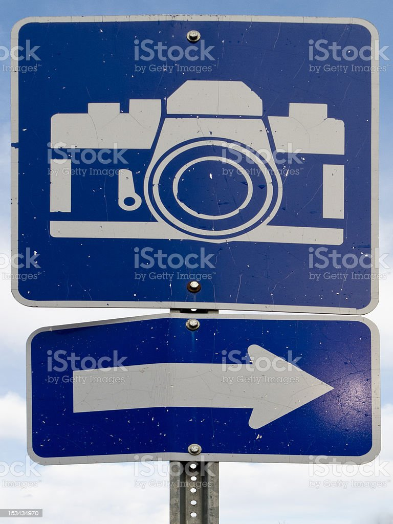 Point of interest road sign with white camera icon royalty-free stock photo