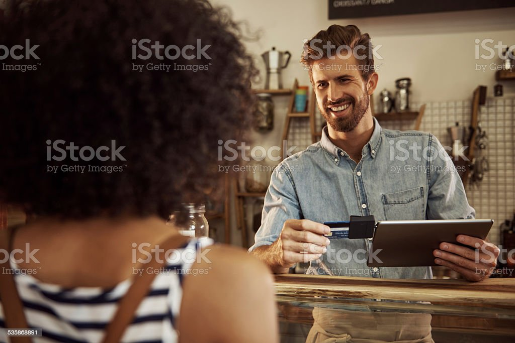 Point of sale just got easier! stock photo