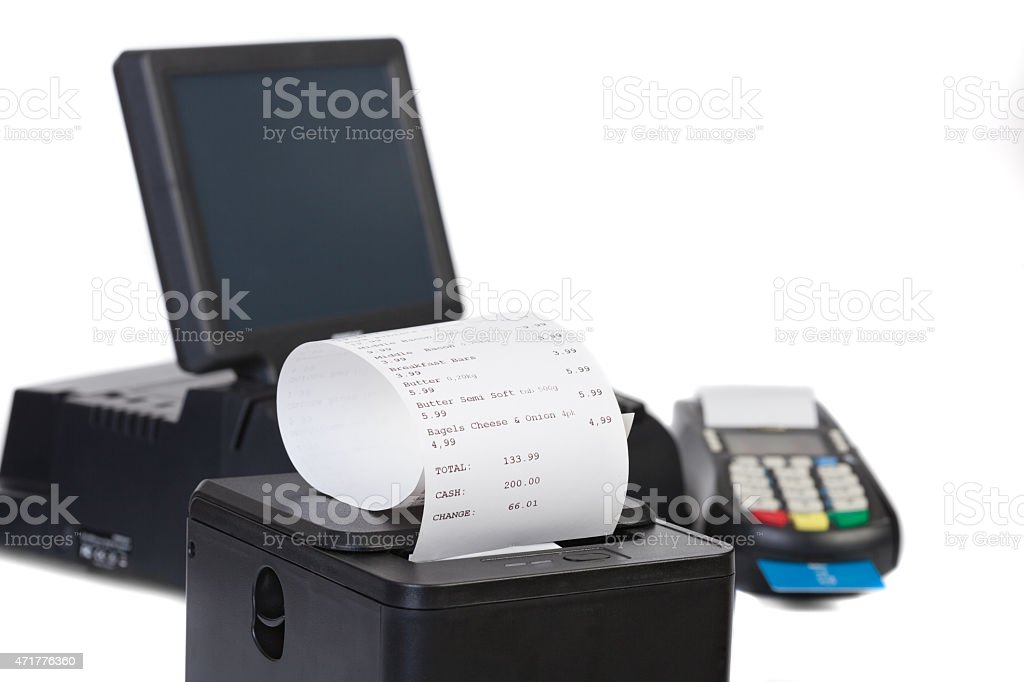 Point of sale system for retail or restaurant use stock photo