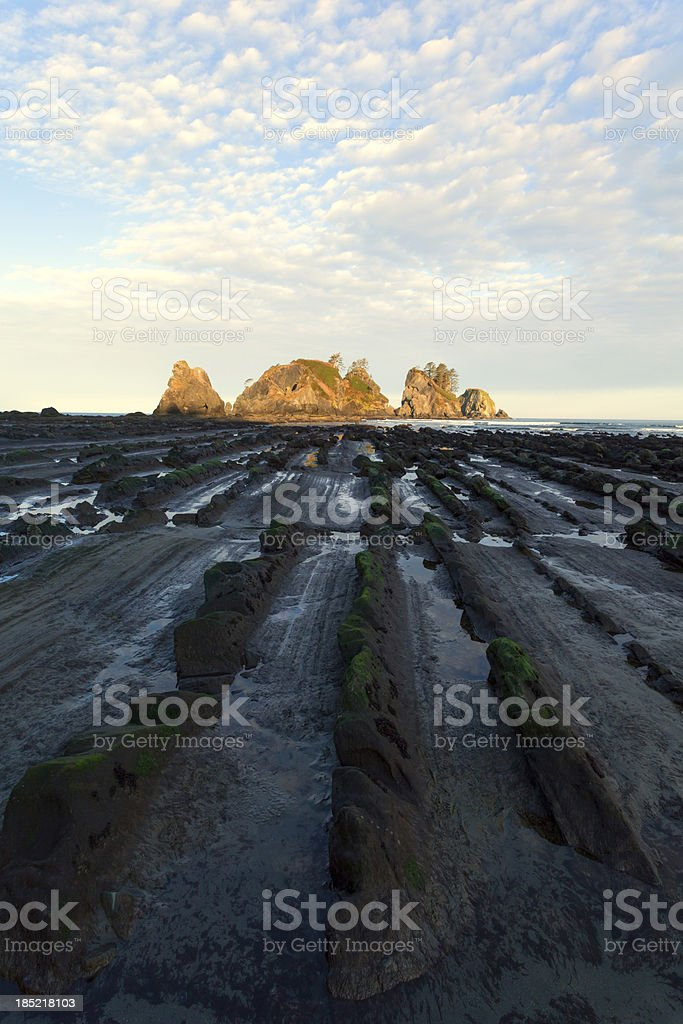 Point of the Arches Beach Sunrise stock photo