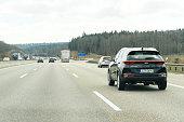 POV Point of view cars on Autobahn highway Kia Sportage