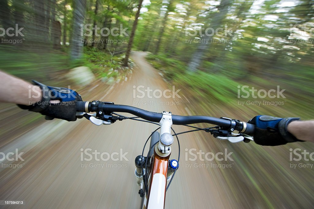 Point of view (POV) cross country mountain biking stock photo