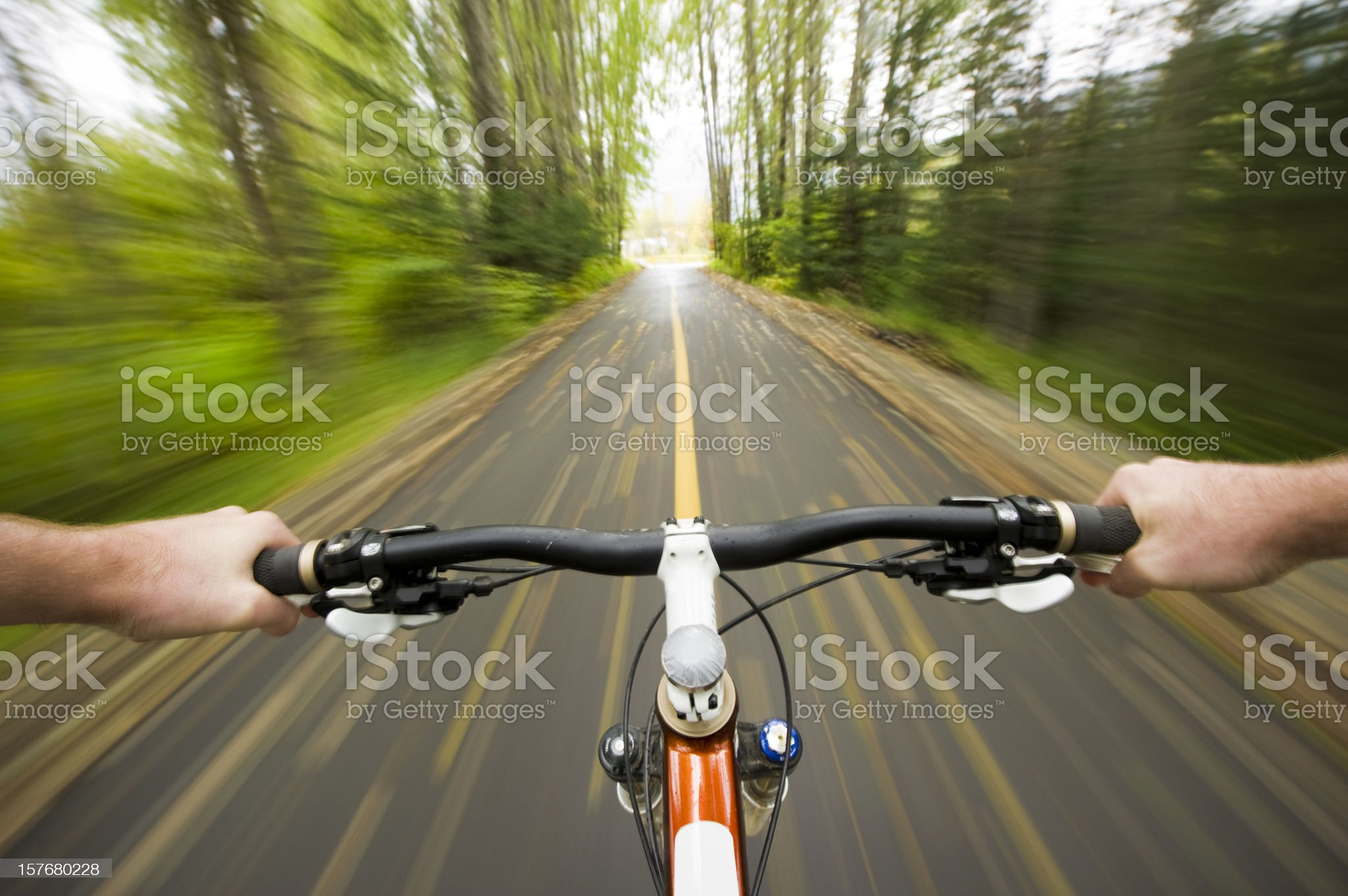 Point of view (POV) cross country mountain biking royalty-free stock photo