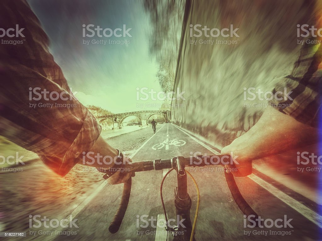 Point of view POV hipster bicycle in Rome stock photo