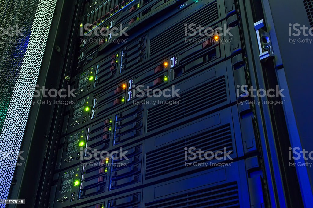point of view modern mainframe disk storage in  data center stock photo