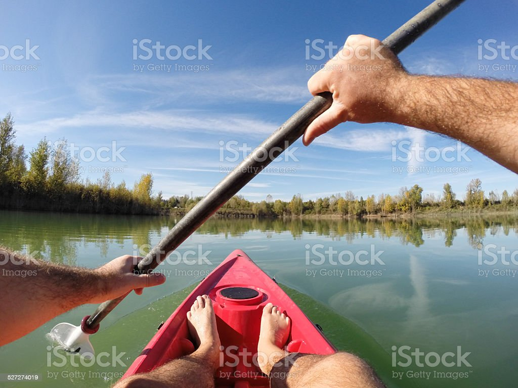 Point of view of a canoeist on a lake stock photo