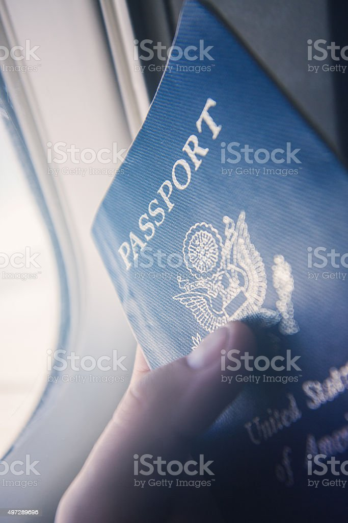 Point of View Passport on Airplane stock photo