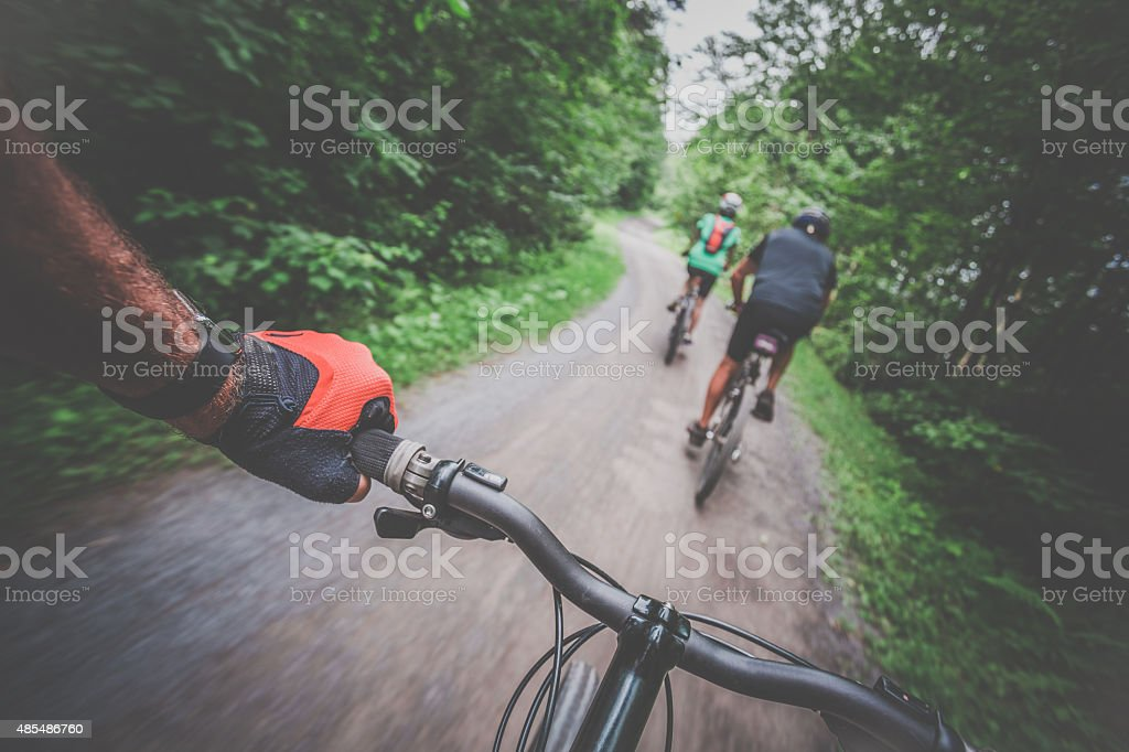 Point of view photograph of a mountain bike rider stock photo