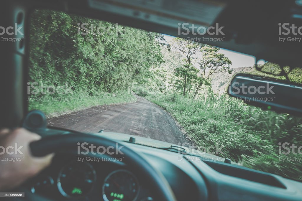 Point of View Road Trip in Tropical Forest stock photo