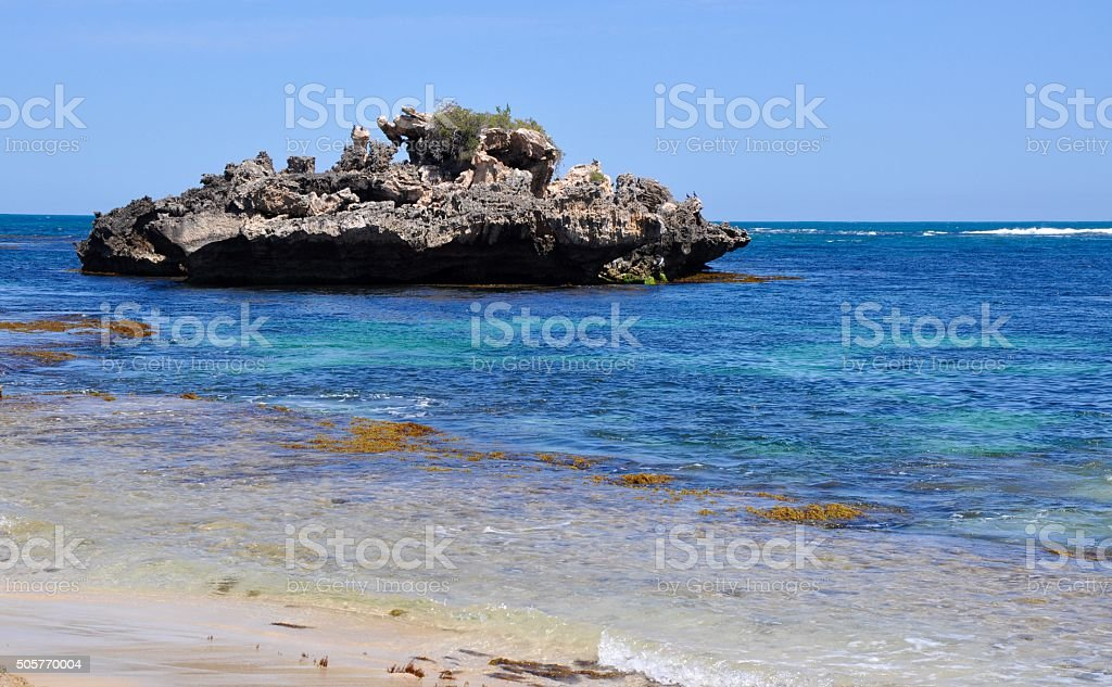 Point Peron: Indian Ocean with Limestone Formation stock photo