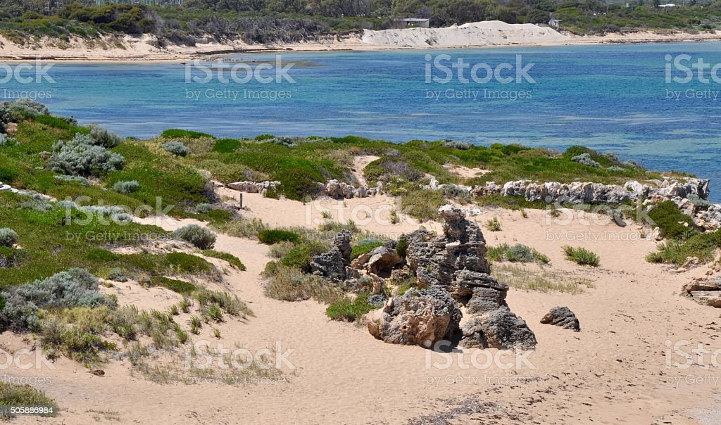 Point Peron: Indian Ocean with Rocky Dunes stock photo