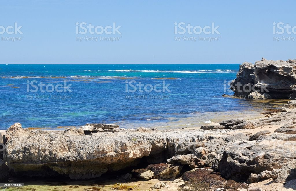 Point Peron: Limestone Covered Beach stock photo