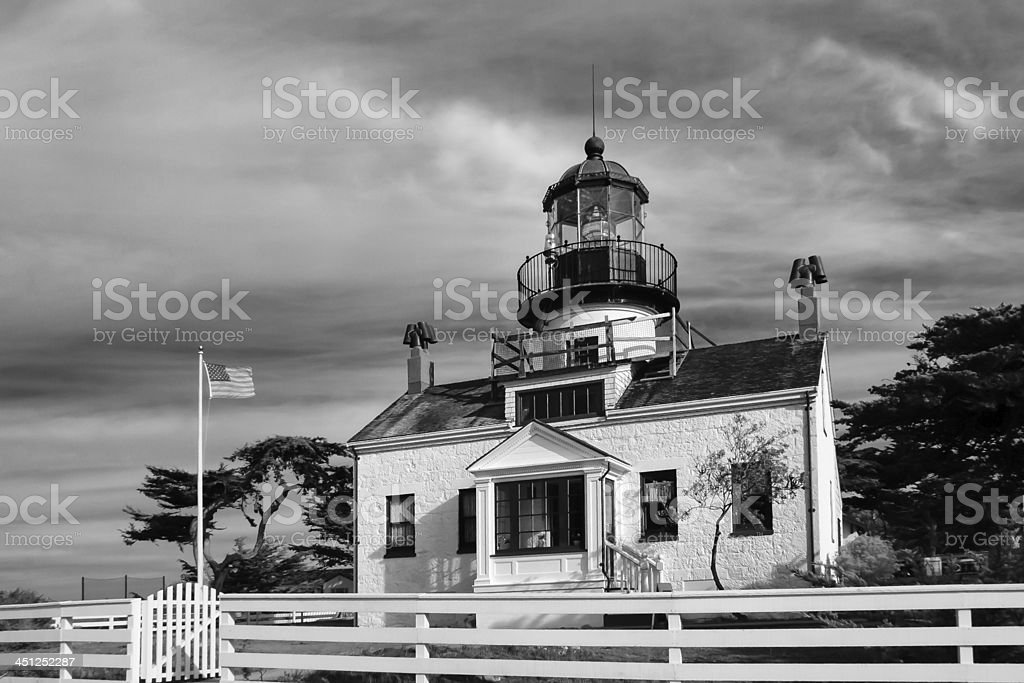 Point Pinos Lighthouse of Monterey Bay stock photo