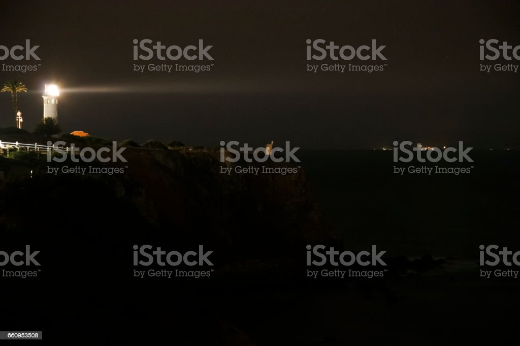 Point Vicente Lighthouse Beacon Glows Off Los Angeles stock photo