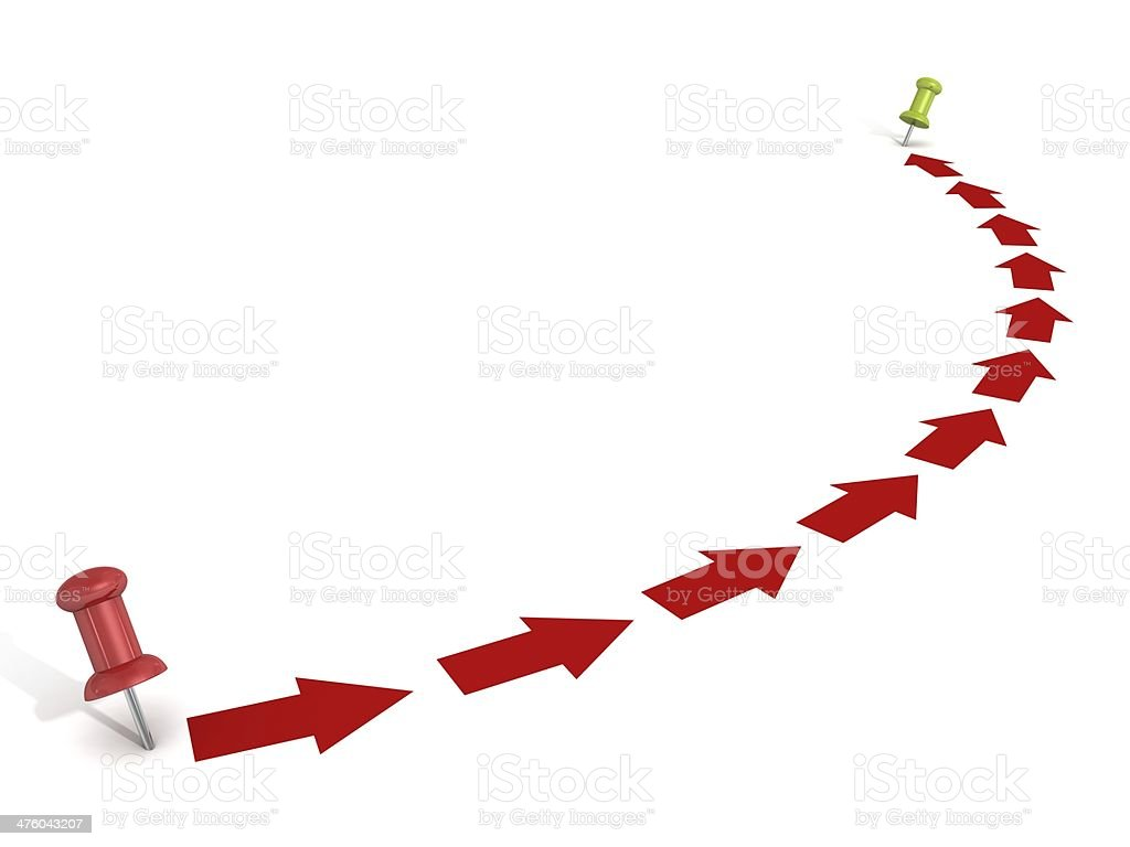 point way with red arrows and pins stock photo