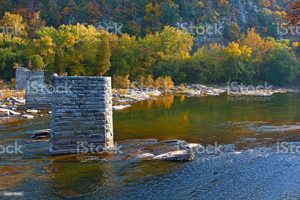 Point where Potomac and Shenandoah rivers meet each other. stock photo