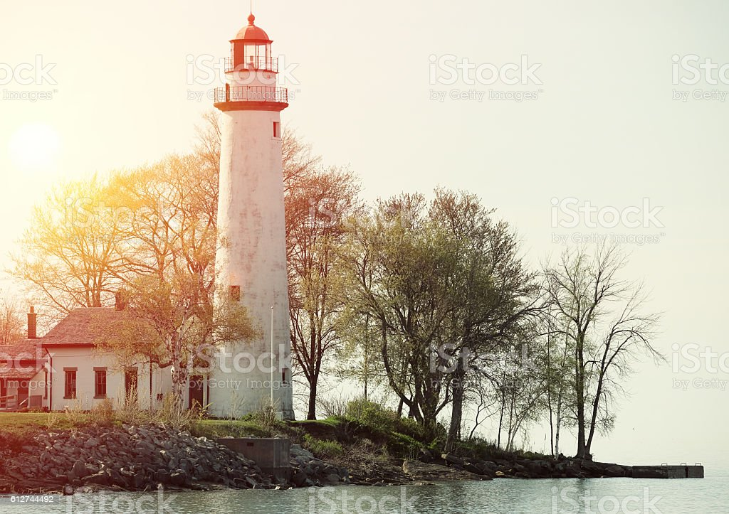 Pointe aux Barques Lighthouse, built in 1848 stock photo