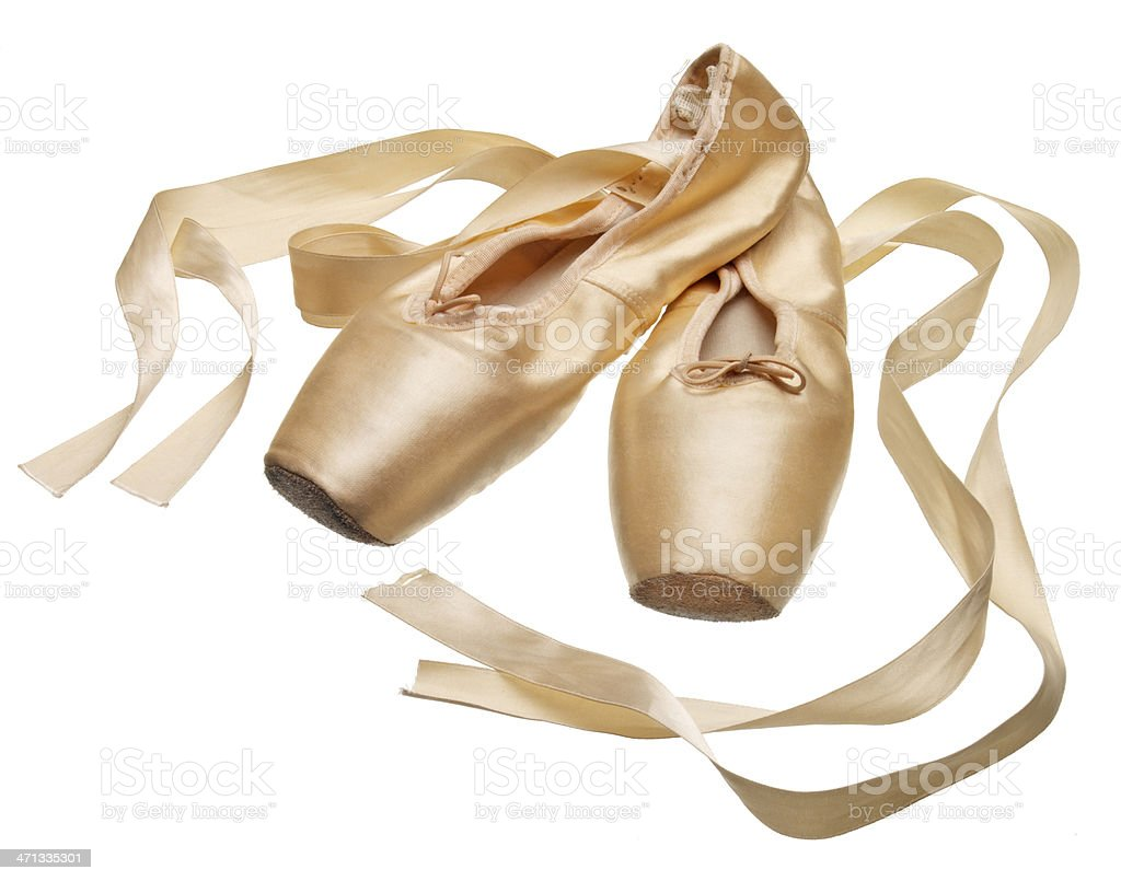 Pointe ballet slippers on white background stock photo