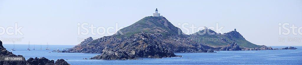 Pointe de la Parata e Iles Sanguinaires, Corsica stock photo
