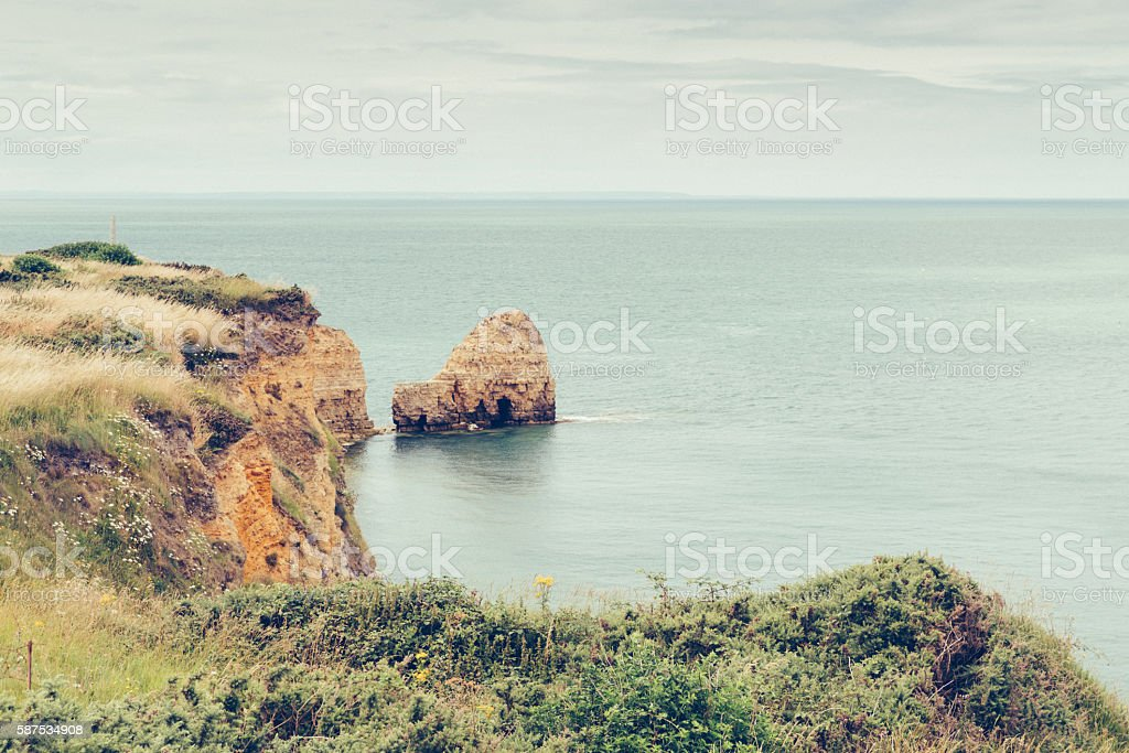 Pointe du Hoc, Omaha Beach, Normandy stock photo