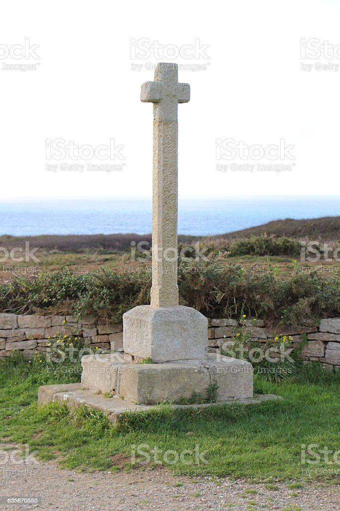 Pointe du Van calcary in Cleden Cap Sizun stock photo