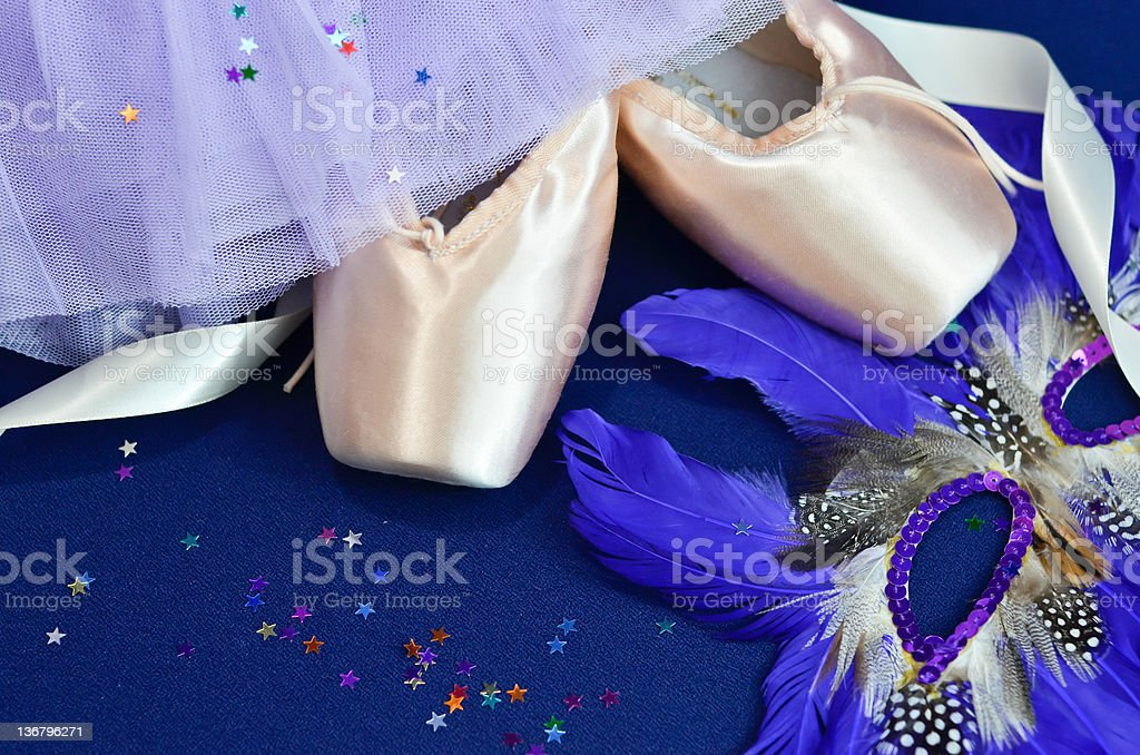 Pointe shoes and theatrical costume stock photo