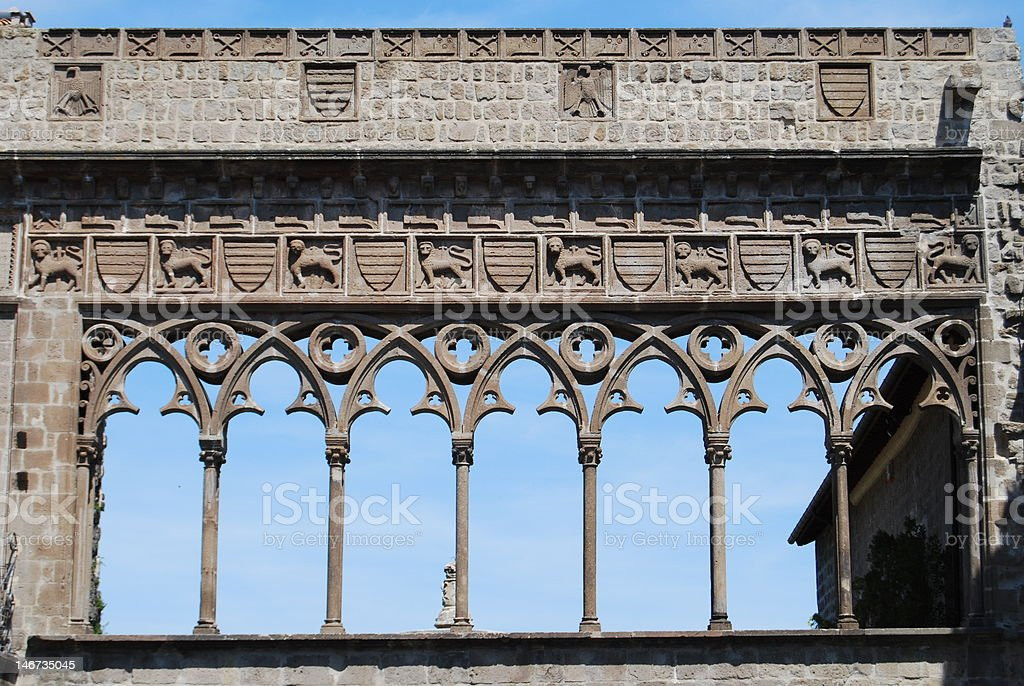 Pointed arches in Viterbo, Italy stock photo