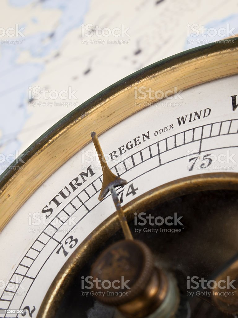Pointer and metering scale of old vintage aneroid barometer stock photo