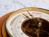 Pointer and metering scale of old vintage aneroid barometer