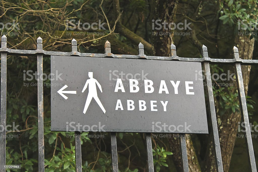 Pointer indicating the way to  abbey  of Mont Saint Michel. royalty-free stock photo